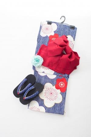 紺×白 ピンストライプに大柄の梅の花 レトロな浴衣7点セット