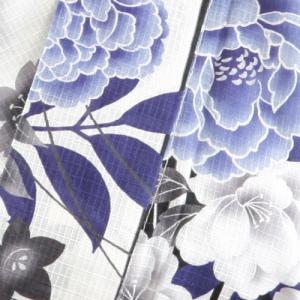 白×黒 花柄とアシンメトリーなストライプが淡く爽やかな大人女子の浴衣セット 10点